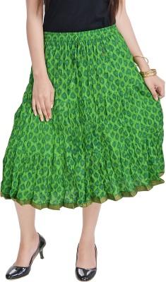 Prateek Exports Floral Print Women's Regular Green Skirt