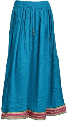 Freedom Daisy Solid Women's Regular Light Blue Skirt