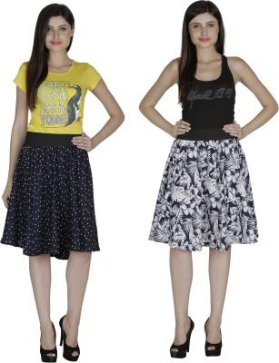 Shopingfever Printed Women's A-line Dark Blue, White Skirt