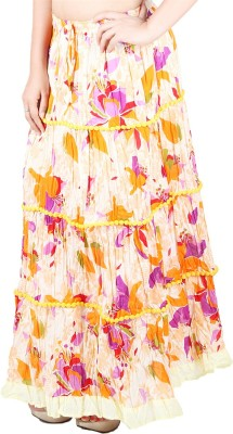 Franclo Floral Print Women,s Gathered Yellow Skirt