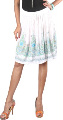 Indiankala4u Printed, Self Design Women,s Broomstick White Skirt