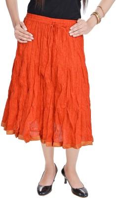 Prateek Exports Floral Print Women's Regular Orange Skirt