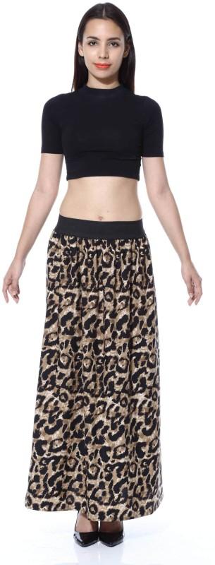 FabnFab Animal Print Women's A-line Brown, Black Skirt