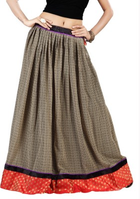 Admyrin Printed Women's Wrap Around Beige Skirt