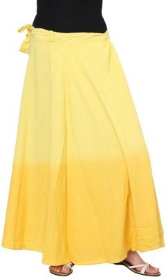 Rvestir Solid Women's Wrap Around Yellow Skirt