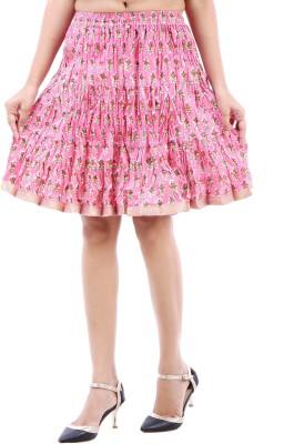BigCart Printed Women's Straight Pink Skirt