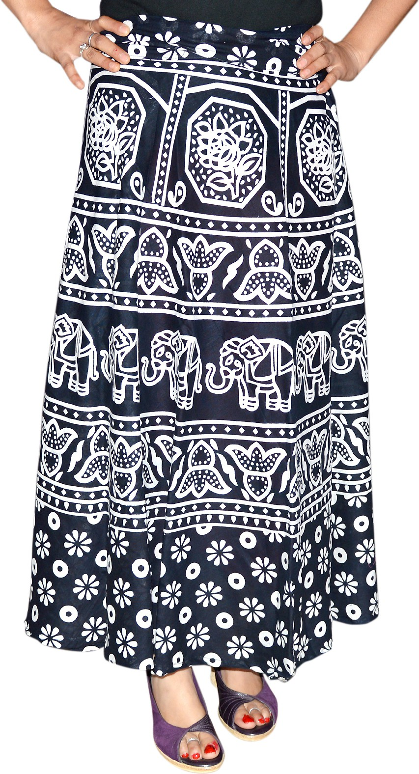 Marusthali Printed Womens Wrap Around Black Skirt