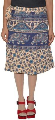 Shreeka Printed Women's Wrap Around Brown, Blue Skirt