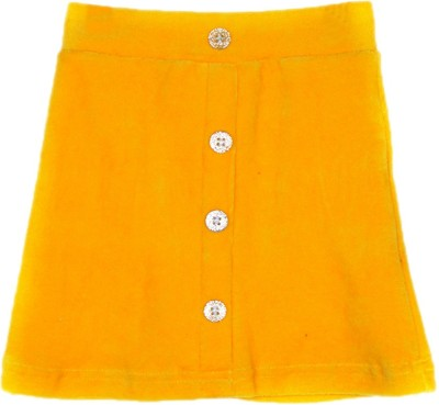 Lil Orchids Solid Girl's Straight Yellow Skirt