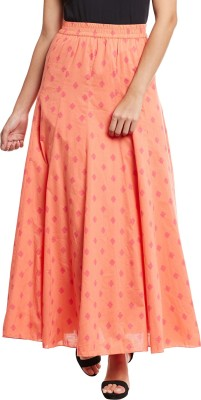 The Vanca Printed Women's A-line Orange Skirt