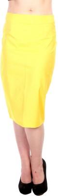 James Scot Solid Women's Pencil Yellow Skirt