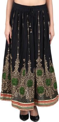 Franclo Printed Women's Regular Black Skirt