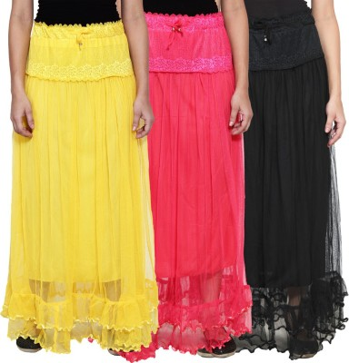 NumBrave Self Design Women's Layered Yellow, Pink, Black Skirt