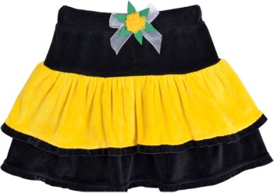 Lil Orchids Solid Girl's Tiered Black Skirt