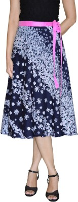 DeeVineeTi Floral Print Women's Wrap Around Blue Skirt