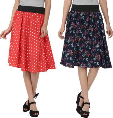 Shopingfever Polka Print Women's A-line Red, Dark Blue Skirt