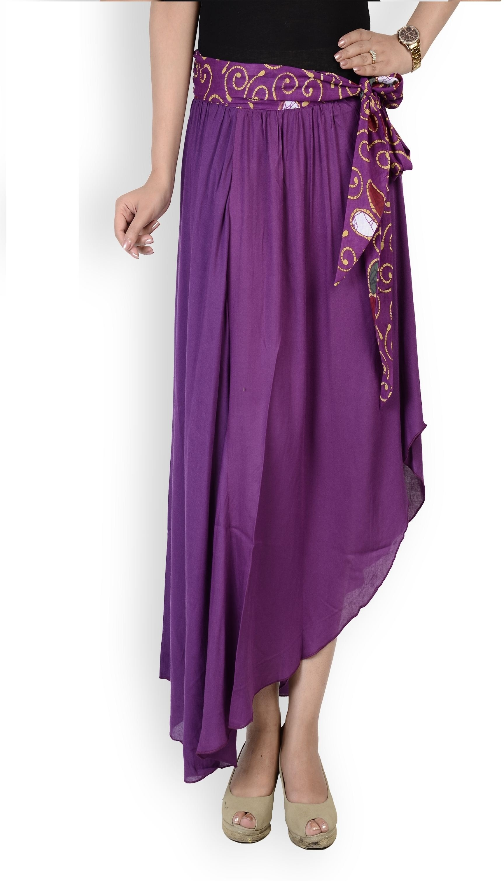 Cottinfab Solid Womens A-line Purple Skirt