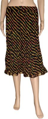 Pinkcityvilla Printed Women's Broomstick Black Skirt
