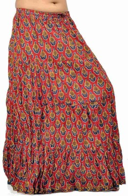 Jaipur Raga Floral Print Women's Regular Red Skirt