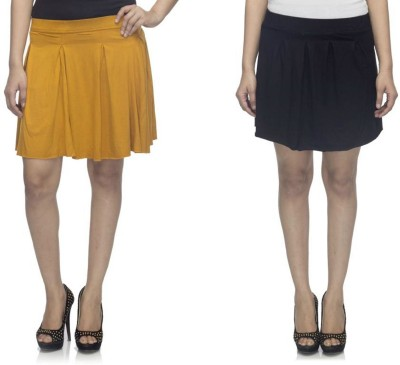 Dee Fashion House Solid Women's Pleated Gold, Black Skirt