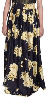 Kaaj Designs Floral Print Women's Pleated Black Skirt