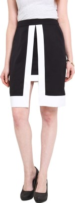 Ridress Solid Women's A-line Black, White Skirt
