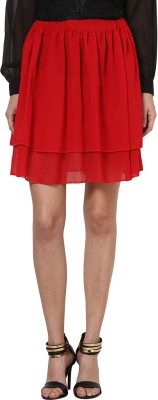 Besiva Solid Womens A-line Red Skirt
