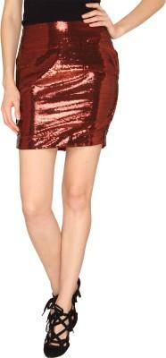 Ashtag Embellished Women's Pencil Maroon Skirt