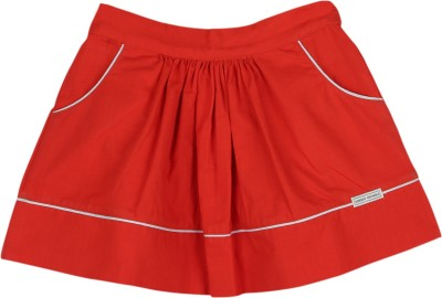 Cherry Crumble California Solid Girl's Pleated Red Skirt