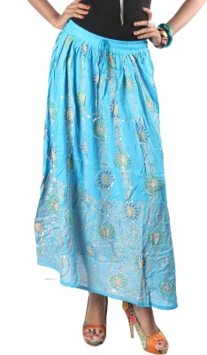 Indiankala4u Printed Womens Broomstick Blue Skirt