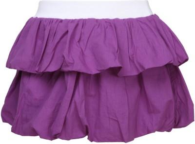 Cool Quotient Self Design Girl's Regular Purple Skirt