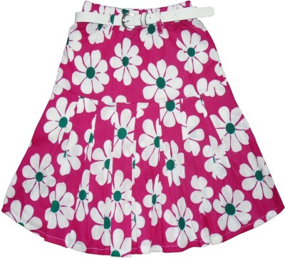 Sweet Angel Floral Print Girl,s Pleated Pink Skirt