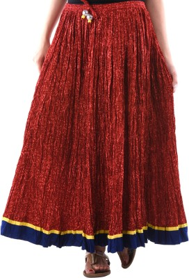 Aarr Self Design Women's A-line Maroon Skirt