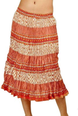 Indiangiftemporium Printed Women's Regular Orange, White Skirt