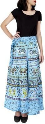 Ethnic Rajasthan Animal Print Women's Wrap Around Light Blue Skirt