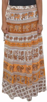 MDS Jeans Animal Print Women's Wrap Around Beige, White Skirt
