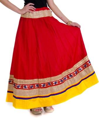 Ooltah Chashma Self Design Women's Broomstick Red, Yellow Skirt