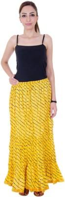 Ooltah Chashma Striped Women's Broomstick Yellow Skirt