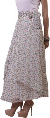 Belle Fille Floral Print Women's A-line White Skirt