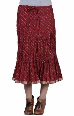 Jaipur Kala Kendra Printed Women's Regular Maroon Skirt