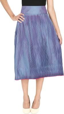Ragdoll Solid Women,s Pleated Blue Skirt
