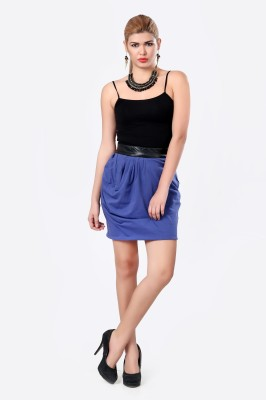 Glam & Luxe Solid Women's Pleated Blue Skirt