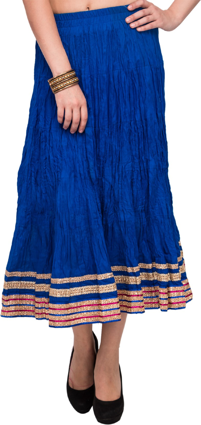 Mina Bazaar Solid, Self Design Womens A-line Blue Skirt