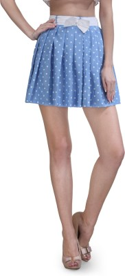 Xoxo Polka Print Women's Pleated Light Blue Skirt