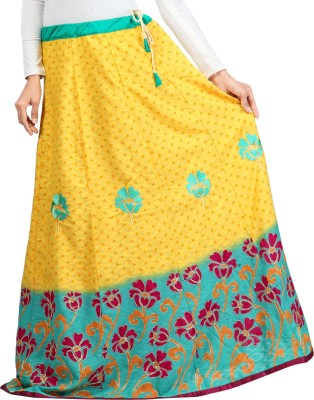 Admyrin Embroidered Women's Wrap Around Yellow Skirt