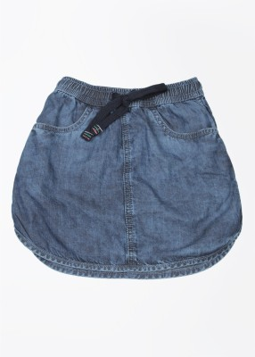Gini & Jony Solid Girl's Regular Blue Skirt