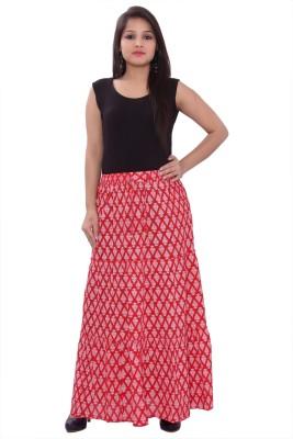 Razio Printed Women's Regular Red Skirt