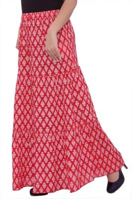 A&K Printed Women's Regular Red Skirt