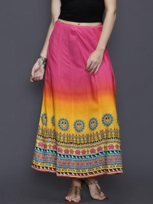 Anouk Printed Women's A-line Pink Skirt