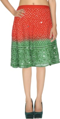 Rajrang Printed Women's Wrap Around Orange, Green Skirt at flipkart